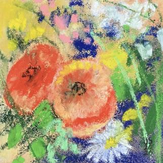 Pause for the flowers, pastel.