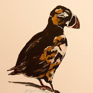 It wasnae me!  Acrylic puffin on canvas.