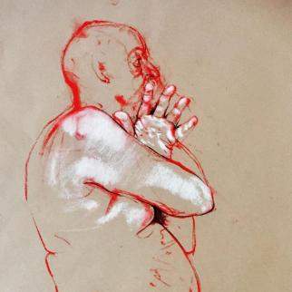 life drawing in pastel and charcoal