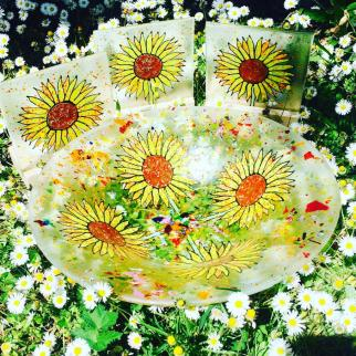 Hand Painted Daisy bowl and candle holders.