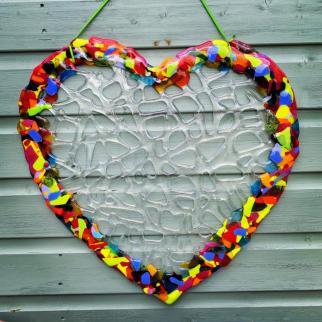 Rainbow glass heart.