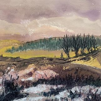 Auchtermuchty Common, framed acrylic painting