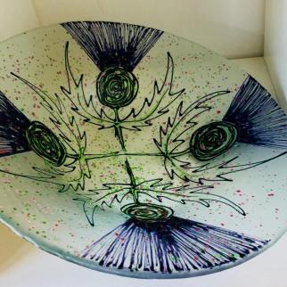 Hand painted Thistle Bowl