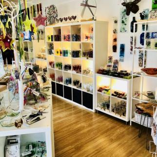 Studio, full of clocks, coasters, candle holders, dishes...lots to see.
