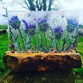 Hand painted Thistles in a stunning rustic scottish base