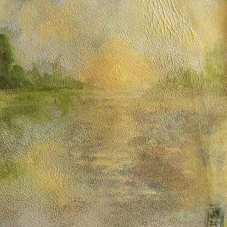 Sunset on the water, oil on heavy paper