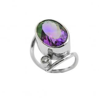 Amethyst diamond white gold cocktail ring commission