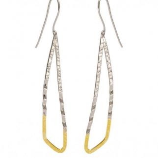 Around the Island, silver drop earrings with 24k gold highlights