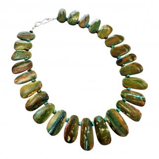 Necklace of blue-green opals with turquoise beads and handmade 9 carat gold clasp.
