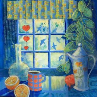Still life in acrylic, 45 x 45 cm