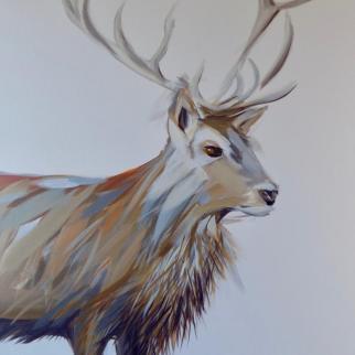Red Deer Stag acrylic on canvas pjtopleyart