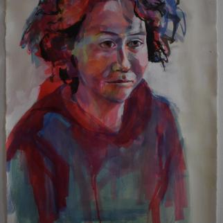 Portrait of Amanda - Just awake  80 x 56 Coloured Ink and Gesso