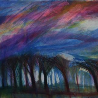 Landscape  - Stormy Sky over Trees 594 x 841mm Mixed media