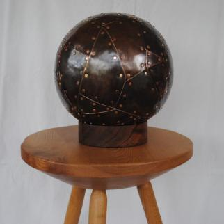 Large heavy sphere covered in copper plates.  £400.   Elm tripod table  £180
