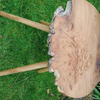 Beautiful burr wych elm table. 600mm in diameter and 580mm high. £400