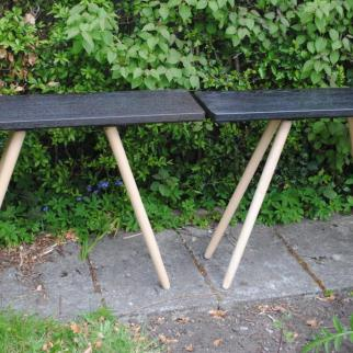 Pair of side tables, 760mm high, 1m long and 290mm deep. Burnt oak tops and sycamore legs.  £500 the pair.
