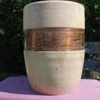 Ash vessel, 300mm high with copper band with etched and punched decoration inspired by examples of early Bulgarian metalwork. £220