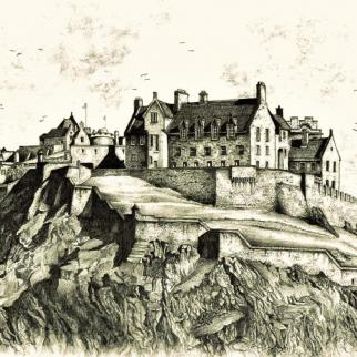 Edinburgh Castle; graphite pencil.