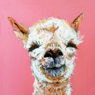 Gilli B illustration, gilli b, illustrator, illustration, scottish illustrator, alpaca, smile, portrait, animal, happy, pink, love, character, print, mounted print, gift, studio, open studio, open studio north east fife, scotland, october 2021