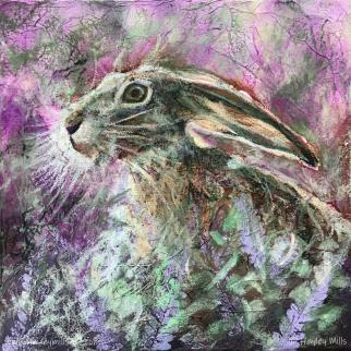 Hare in the Heather Mixed Media www.hayleymillsart.com Hayley Mills Artist