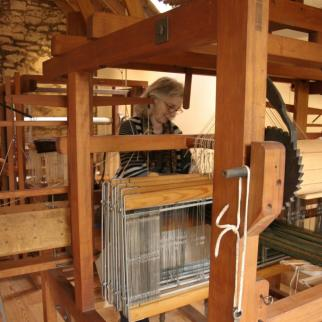 Weaving on the dobby loom.