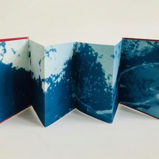 hand made cyanotype concertina book