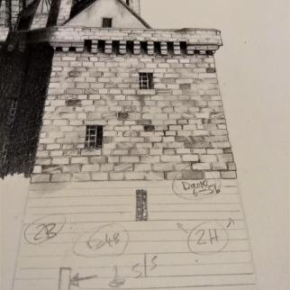 Borthwick Castle; graphite pencil. Commission in progress