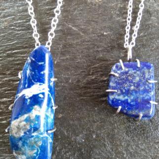 lapis pendants in sterling silver mounts