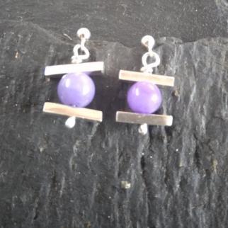 purple jade and sterling silver earrings