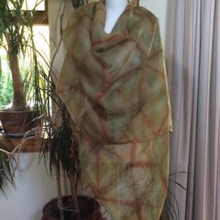 large hand dyed fine wool shawl shibori