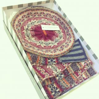 Fairisle scarf and hat in Louise Wedderburn box