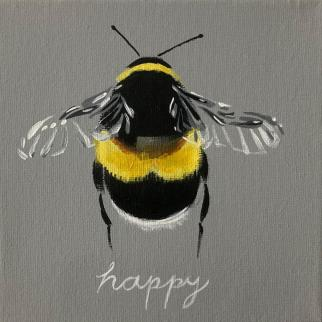 Buff Tailed Bee acrylic on canvas pjtopleyart