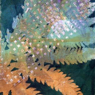 Squares And Ferns Monotype Print