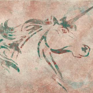 Watercolour style Unicorn Monotype Print
