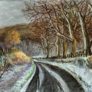 Kemback Woods; pastel on card