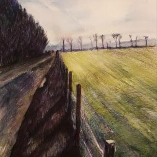 Landscape - Road from Giffordtown to Ladybank  19x25cm