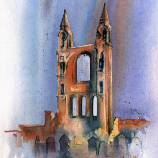 Watercolour - 'St Andrews Cathedral Glow'