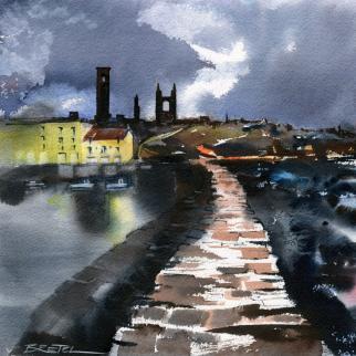 Watercolour - 'St Andrews Pier at Dusk'