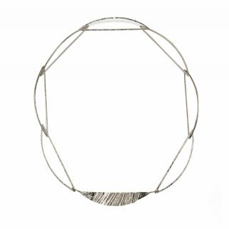 Silver necklace of D-shaped links with formed centrepiece representing ideas from natural navigation.