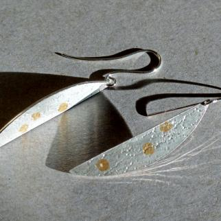 Textured silver long drop earrings with 24 carat gold applied by the Keum Boo technique