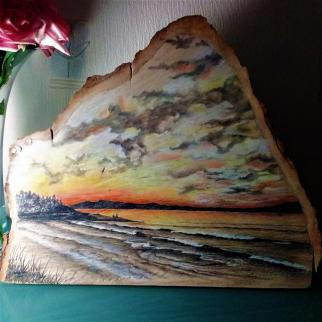 Westsands Sunset; mixed media on larch wood.
