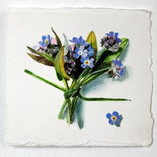 Tiny painting of a posy of Forget me Not flowers