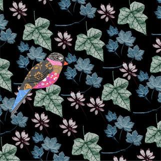bird leaves pattern texture digital colour modern contemporary