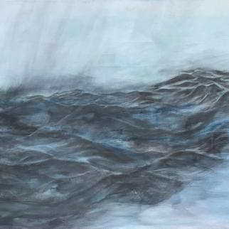 Lindsay Mathers Mixed Media painting of stormy sea