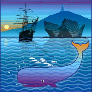 discovery V&A whale sea river law hill dundee digital print blue fish contemporary scotland local