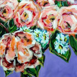 Happiness, abstract peonies, flowers