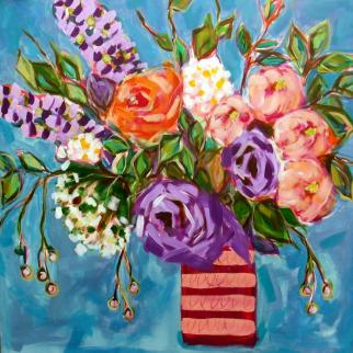 Magnificent, vase of flowers, abstract pastel colours