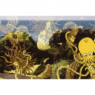 Memaids sitting on rocks combing sea anemones tendrils and letting hermit crabs look in their mirrors