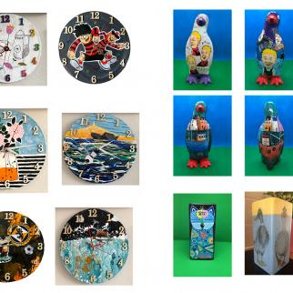 ceramics  clocks vases porcelain penguins local dennis for wullie flowers boats vases scenery abstract hand painted realistic original