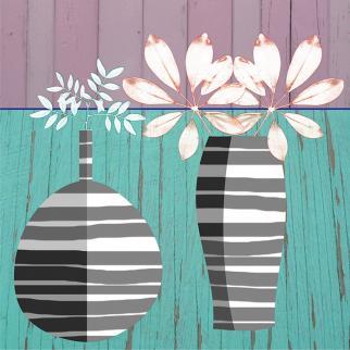 still life trendy modern digital flowers vase mono stripes leaves silver grey